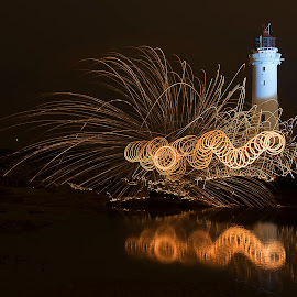 Wiggly Worm on Perch Rock by Graham Peel - Abstract Light Painting ( new )