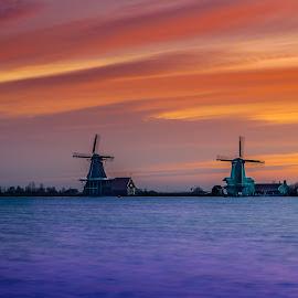 When light paints the canvas of sky ..!! by Kshitij  Saxena - Landscapes Sunsets & Sunrises ( water, sunset, mindmills, sunrise, landscape, windmill )