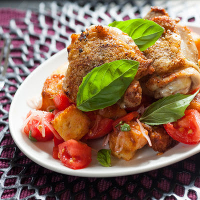 Marjoram-Garlic Chicken with Jersey Tomato Panzanella