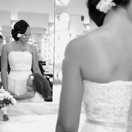 Bride & Her Girl by Robyn Dunne - Wedding Getting Ready ( reflection, mother, black and white, wedding, vow renewal, daughter )