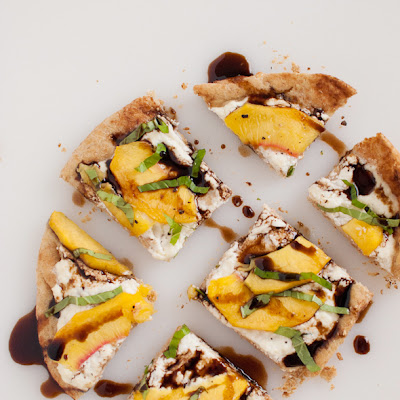 Simple Peach, Basil and Ricotta Flatbread