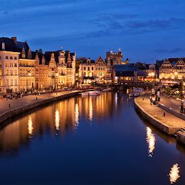 Gent by Ева Йорданова - City,  Street & Park  Night ( lights, historic buildings, european city, romance, evening,  )