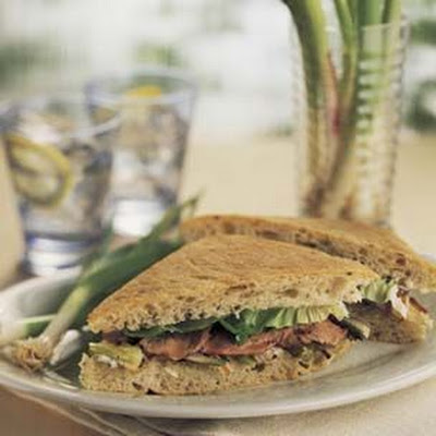 Grilled Baby Leek, Green Garlic and Roast Lamb Sandwiches