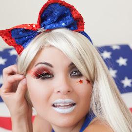 Red White Blue Model by Leon Davis - People Body Art/Tattoos ( flag, makeup, red white blue, art, american flag )