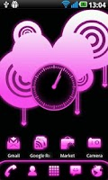 Screenshot of Pink Glow Clock Widget