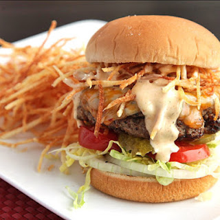 Cuban Fritas (Seasoned Cheeseburgers with Shoestring Potatoes and Spicy Sauce)