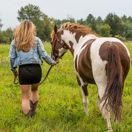 Girl and Her Horse by Nancy Merolle - People Portraits of Women