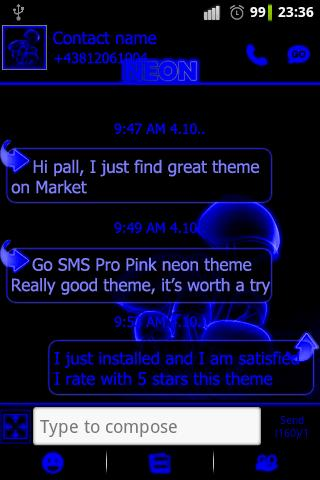 Blue neon theme GO SMS Pro