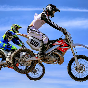 Flight for Two by M Knight - Sports & Fitness Motorsports ( flying, sky, motorbike, motocross, tires, racer, sport, air, helmet, race, jump )