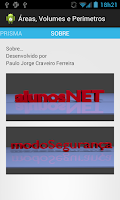 Screenshot of Área, Volumes e Perímetros