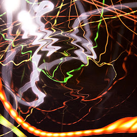 The Art of Light and Motion by Waynette  Townsend - Abstract Light Painting ( lights, abstract, orange, red, green, ment, white, dark, night, yellow, black )