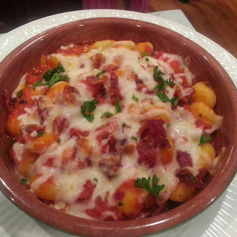 Baked Gnocchi with Pancetta, Tomato and Mozzarella