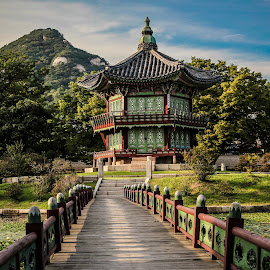 Traditional Temple by Jhing Summers - Buildings & Architecture Public & Historical ( gwanghamun temple, mountain, lake )