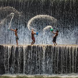 Local Boys by Nyoman Sundra - Babies & Children Children Candids ( bali, klungkung, unda, boys, river )