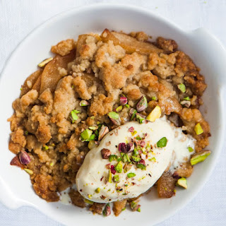 Pear Crostata with Spiced Caramel and Candied Pistachios