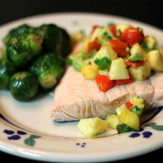Poached Salmon with Pineapple Salsa