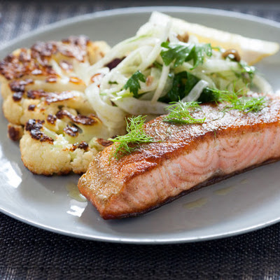 Salmon with Fennel Two Ways & Cauliflower Steak