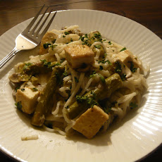 Coconut Key Lime Tofu with Asparagus and Mushroom Delight