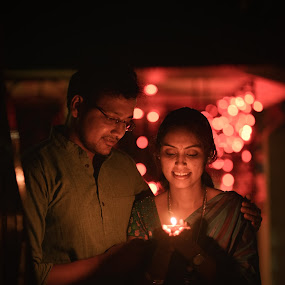 :) by Sudheer Hegde - Wedding Bride & Groom ( expression, sigma, 85mm, d800, wedding, night, nikon, bride, bokeh, light, groom )
