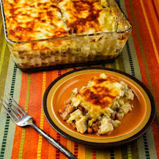 Layered Mexican Casserole with Chicken, Green Chiles, Pinto Beans, and Cheese (Phase One, Gluten Free)