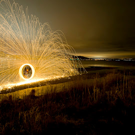 Spinning at Power's Creek by Kelly Morris - Abstract Light Painting ( light painting, kelowna, long exposure, Steel Wool, Fire, Sparks )