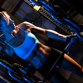Blue Day by Roger Arnaud - Sports & Fitness Fitness ( weights, female, fitness, lift, gym )