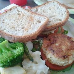 GF crab cake po-boy with steamed veggies