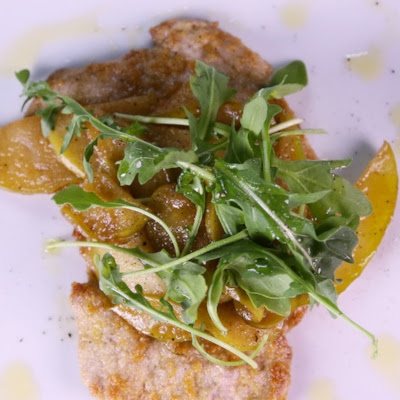 Almond Crusted Scallopini with Apples & Arugula