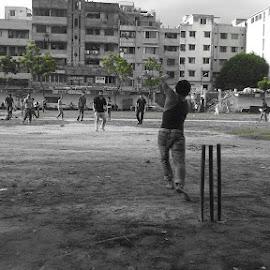 Playing Cricket in Shahid Park Playground, Dhaka. by Roméo Aniňda - Sports & Fitness Cricket