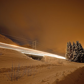 Snowplow pass by by Marius Birkeland - Abstract Light Painting ( light painting, snow, trees, light trails, bridge,  )