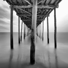 midday under the pier by Edward Kreis - Black & White Abstract ( black and white, mid day, ocean city fishing pier, ocean, beach, neutral density, ocean city, the oc, lumber, maryland, pier, summer, long exposure, filter )
