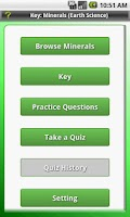 Screenshot of Key: Minerals (Earth Science)