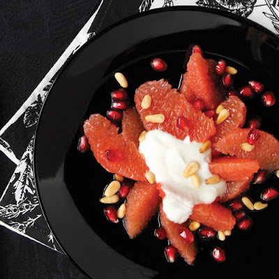 Pomegranates & Grapefruit with Honey-Yogurt Sauce