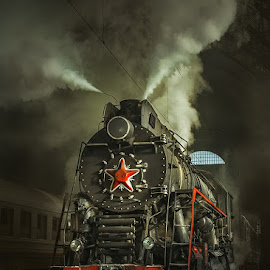 Old Soviet steam locomotive. by Dmitry Laudin - Transportation Trains ( steam locomotive, vintage, station, star )