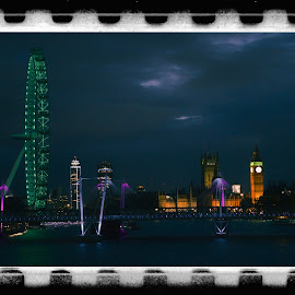 Night over Westminster by Monika Schaible - City,  Street & Park  Skylines ( water, uk, london, thames, night photography, southbank, monika schaible, westminster, big ben, creativity, lighting, art, artistic, purple, mood factory, lights, color, fun )