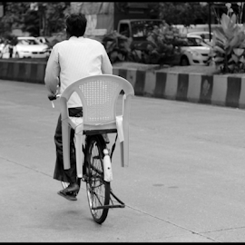 Chair needs a Lift by Mihir Shah - Transportation Bicycles ( chair, transportation, people, street photography, bicycle )