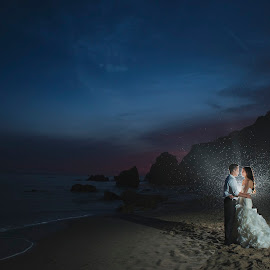 My first glance fell on your heart by Yansen Setiawan - Wedding Bride & Groom ( sunsets, sunset, wedding day, weddings, wedding, burst, bride and groom, beach, trash the dress )