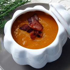 Butternut Squash and Cannellini Soup with Bacon