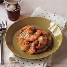Cajun Shrimp with Corn Flapjacks