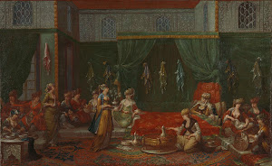 RIJKS: Jean Baptiste Vanmour: Lying-in Room of a Distinguished Turkish Woman 1737