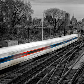To The City  6897  by Karen Celella - Transportation Trains ( leading lines, selective color, bronxwharehouse, train, motion, slow shutter, city, pwc )