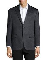 Neiman Marcus Cashmere Double-Button Blazer, Charcoal - (42S)