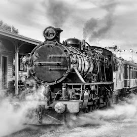 Making Steam by Julien Johnston - Transportation Trains ( old, monochrome, station, rail, train, smoke, steam )