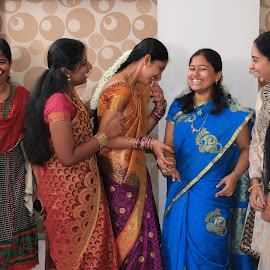 All smiles! by Srivenkata Subramanian - Wedding Groups ( indian, saree, coimbatore, group, smiling,  )