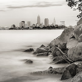Downtown Cleveland by Anna Tymczak-Rzemieniuk - City,  Street & Park  Skylines ( skyline, black & white, long exposure, lake, downtown )