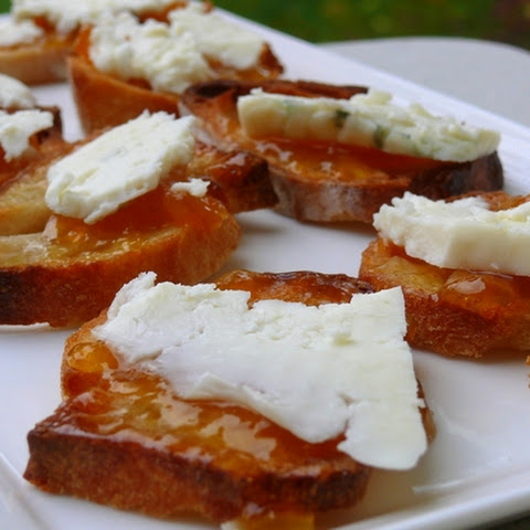 Blue Cheese and Peach Chutney Crostini