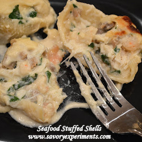 Crab and Shrimp Stuffed Shells in a Sherry Cream Sauce