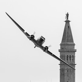 Low flyby by Filip Trinajstić - Transportation Airplanes ( b&w, red bull black&white, plane, vintage, airplane, aircraft, croatia, flyby, rovinj, old plane )