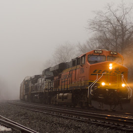 212 Through the Fog by Jacob Hoehler - Transportation Trains ( 212, bnsf, norfolk southern, fog, prospect, train )