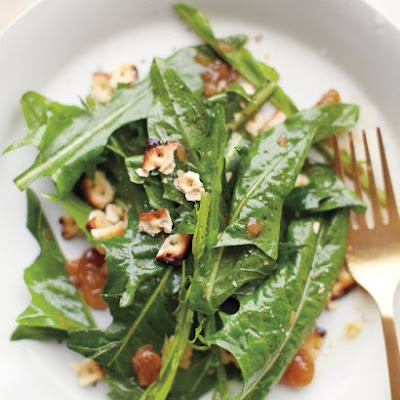 Wilted Dandelion Greens with Toasted Matzo Crumbles